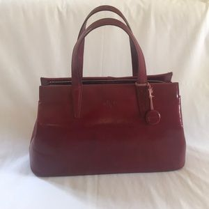 Monsac genuine leather hand bag.  Wine color